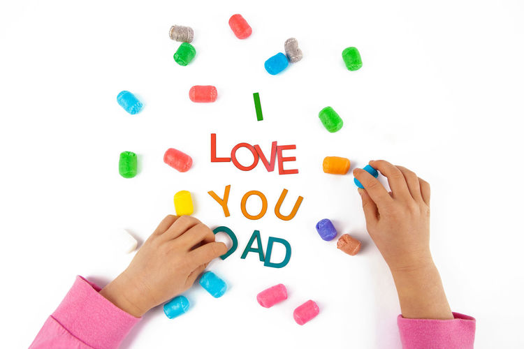 Design Background Care Celebrate Celebration Cheerful Child Childhood Childs Hand Colorful Concept Cute Dad Daddy Day Family Father Fathers Day Fun Gift Hand Happy Holiday I Love You Isolated Kid Letters Love Male Parent Text Top View White You Young