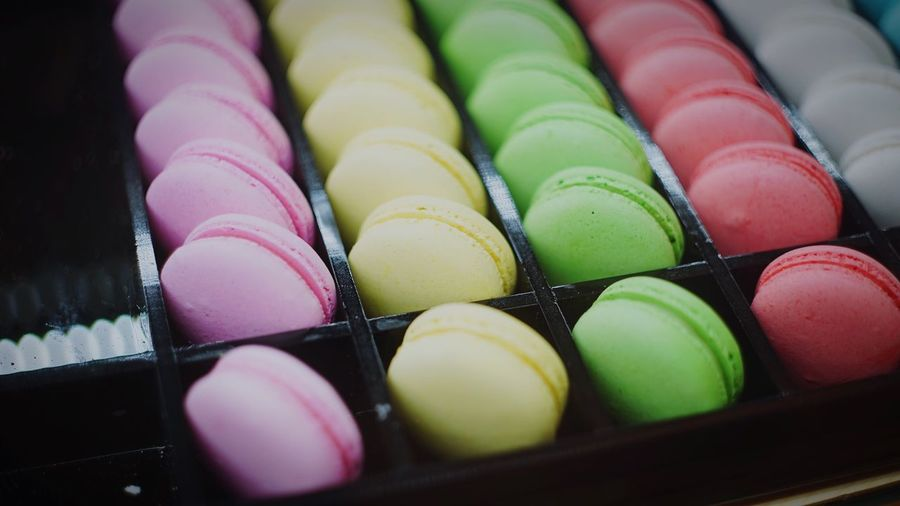 Close-up of macaroons in rows