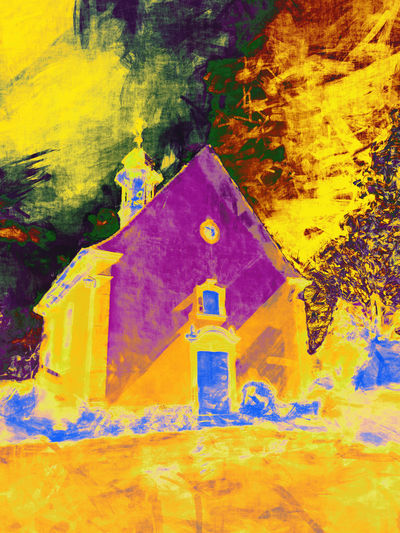 Fire church Painting ArtWork Architecture Art Church Burning Fire Yellow No People Built Structure Sign Tree Day Nature Building Exterior Communication Plant Outdoors Auto Post Production Filter Cloud - Sky Building Multi Colored Number Art And Craft Information Creativity