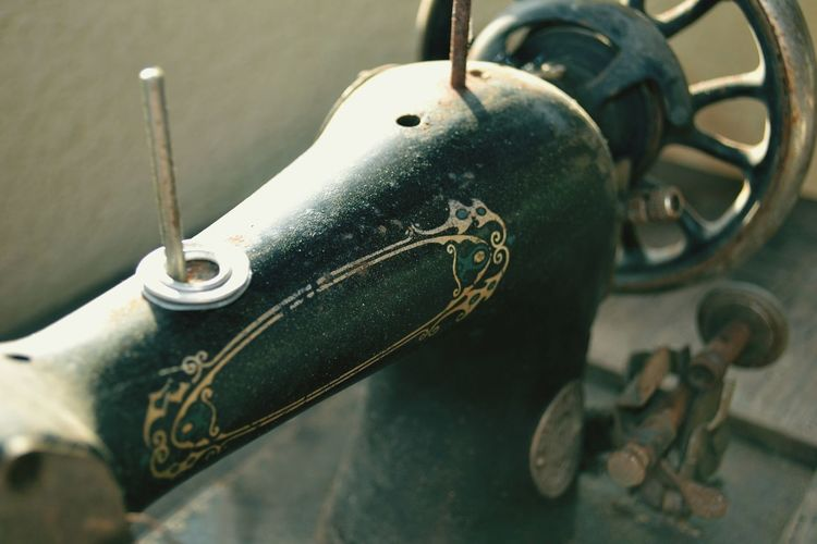 Close-up of old sewing machine
