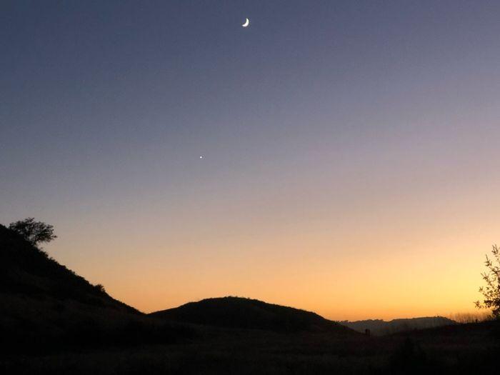 Hillside Star Moon Sunset