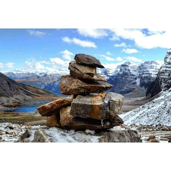 An inukshuk can be small or large, a single rock, several rocks balanced on each other, round boulders or flat. Built from whatever stones are at hand, each one is unique. The arrangement of stones indicates the purpose of the marker. The directions of arms or legs could indicate the direction of an open channel for navigation, or a valley for passage through the mountains. An inukshuk without arms, or with antlers affixed to it, would act as a marker for a cache of food. Up by Eiffel Peak - Alberta - Canada. Lakelouise Keepexploring Explorealberta Explorebritishcolumbia Inukshuk North Banffnationalpark Jaspernationalpark Imagesofcanada Greatnorthcollective Hiking Highway93 Rockymountains Rockies Viajante Mochileiro Travel Summer Backpacking Solotravel Wonderful Canada Alberta Tourismalberta Tourismcanada plainofthesixglaciers profissaoaventura montanhasrochosas mountains glacier