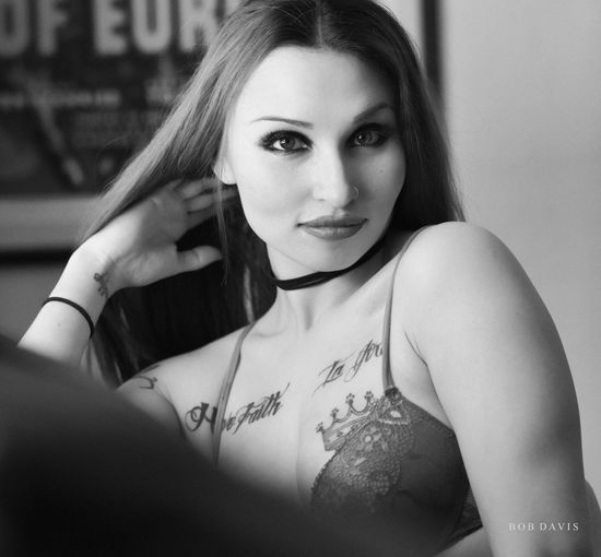 Nikon Beautiful Woman Beauty Black And White Boudoir Fashion Front View Hair Hairstyle Indoors  Leisure Activity Lifestyles Lingerie Looking At Camera Monochrome On1 One Person Portrait Real People Tattoo Women Young Adult Young Women