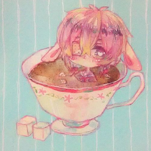Illustration Girl Coffee Watercolor イラスト 絵 Art 水彩