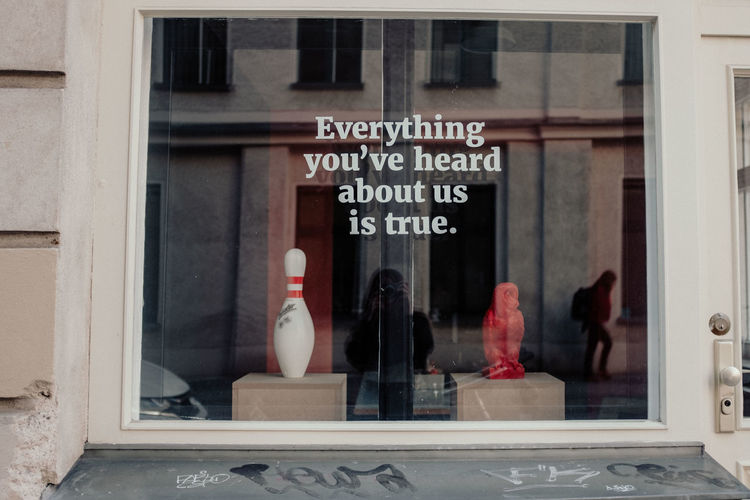 Everything You've Heard About Us Is True Text Western Script Communication Glass - Material Window Transparent Reflection Mannequin Store Window Store Building Exterior Retail Display Human Representation Retail  Architecture Female Likeness Incidental People Sign Women Day Outdoors Glass Shop Front Kegel Vintage Store Berlin