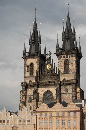 View of Church of Our Lady Before Tyn (Chram Matky Bozi pred Tynem) from Old Town Square, Prague Czech Republic. Iconic black pointed towers of the Church of Our Lady Before Tyn in Prague. Church Of Our Lady Before Tyn Prague Prague Czech Republic Prague♡ Architecture Bell Tower Building Exterior Built Structure City Clock Tower Day History Low Angle View No People Outdoors Place Of Worship Religion Sky Spirituality