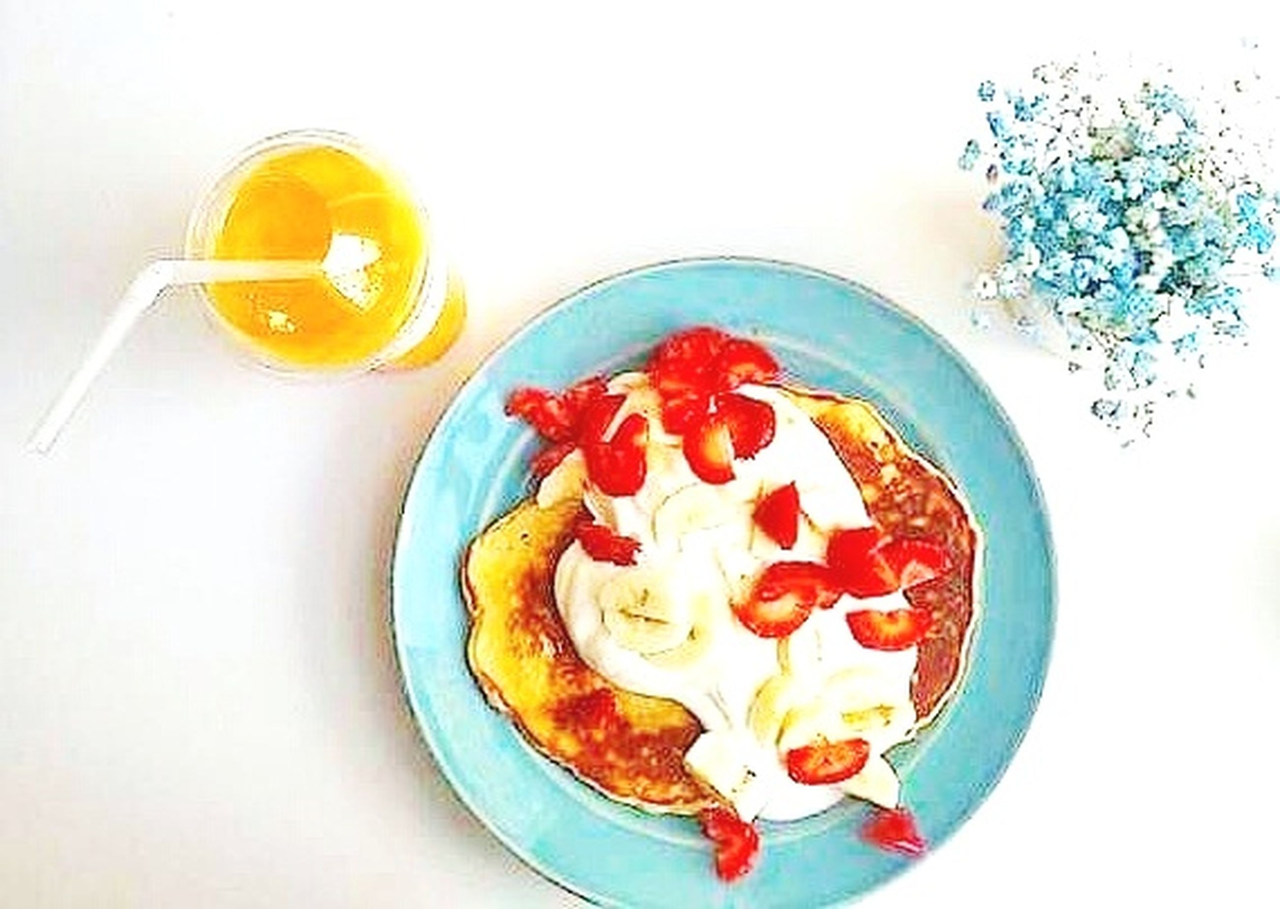 food, breakfast, food and drink, sweet food, freshness, directly above, fruit, no people, plate, healthy eating, white background, drink, orange juice, close-up, ready-to-eat, pancake, egg yolk, indoors, day