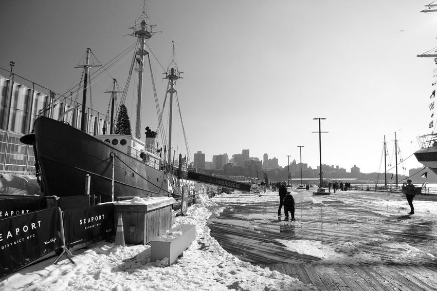 Blackandwhite Snow Port Boat Adult People Outdoors Adults Only City Day