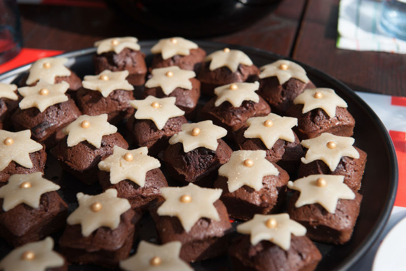 Close-up of star brownies in plate on table