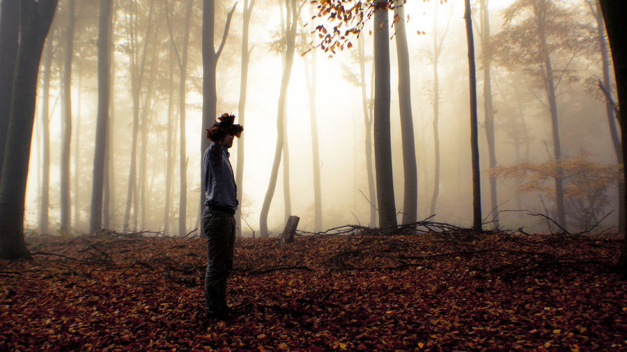 Side view of man holding bunch of autumn leaves in front of face in forest during foggy weather