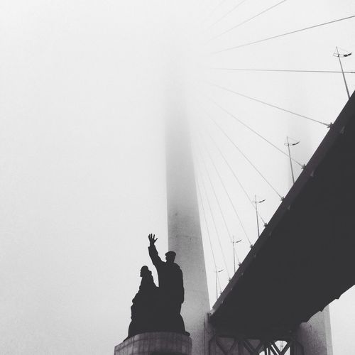 Break The Mold Silhouette Architecture Low Angle View Men Standing Foggy Foggy Morning Blackandwhite Black & White Art Is Everywhere