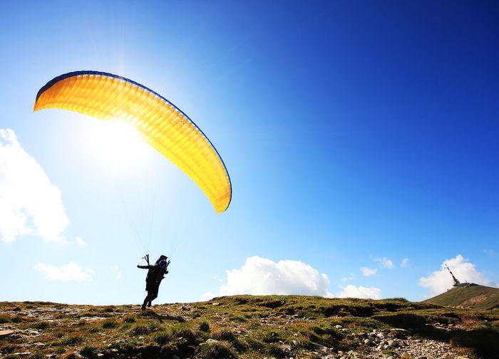 Paraglider on mountain