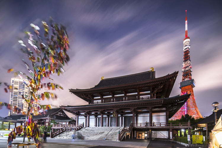 Lanterns made of hand-made washi rice paper arranged in a shape of milky way in the zojoji temple.