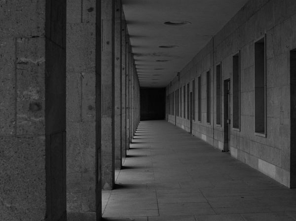 Berlin Absence Arcade Architectural Column Architecture Blackandwhite Building Built Structure Ceiling Colonnade Corridor Day Diminishing Perspective Direction Empty Flooring Footpath In A Row Indoors  Long No People The Way Forward