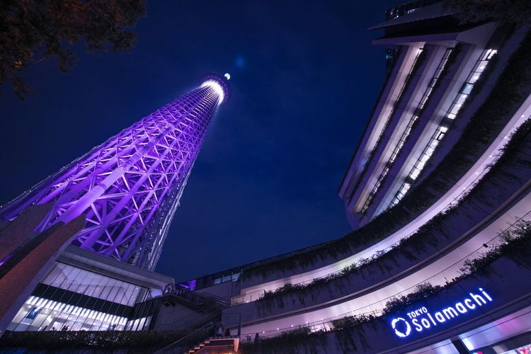 Architecture Built Structure Low Angle View Building Exterior Illuminated Night Blue City Modern Sky No People Outdoors Skyscraper
