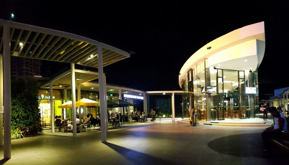 Night Illuminated Architecture City Shopping Mall Modern Built Structure No People Outdoors