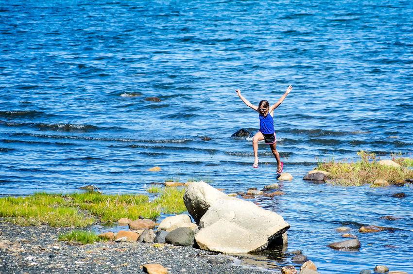 Bird Blue Calm Full Length Nature Non-urban Scene Remote Rippled Scenics Sea Shore Tranquil Scene Tranquility Water