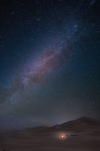 Scenic View Of Star Field Over Desert Against Sky At Night