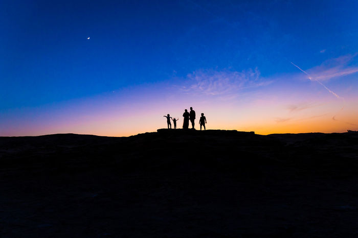 Adult Adults Only Adventure Beauty In Nature Cloud - Sky Desert Dramatic Sky Full Length Landscape Men Nature Outdoors People Silhouette Sky Star - Space Sunset Togetherness