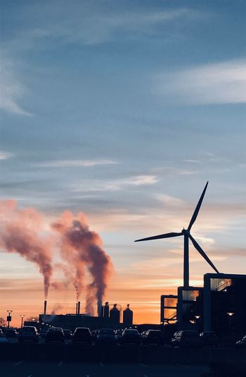 Windmill Factory View Pink Color Wind Power Wind Turbine Windmill Wind Windpower Sky Factory Building Exterior Smoke - Physical Structure Architecture Environmental Issues Environment Cloud - Sky Silhouette Air Pollution Sunset Nature Built Structure Industry Smoke