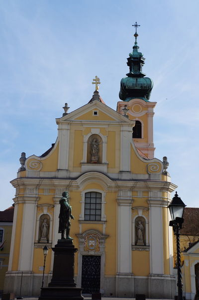 Architecture Art Art And Craft Building Exterior Built Structure Church Creativity Façade Famous Place Győr History Human Representation Hungary Low Angle View Ornate Place Of Worship Religion Sculpture Sky Spirituality Statue Travel Destinations