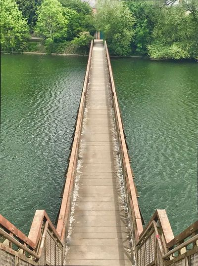 Bridge Crossing Water Beauty In Nature Sunlight Outdoors Direction Tranquil Scene Plant High Angle View River Tranquility The Way Forward Day Built Structure Nature Green Color No People Tree Scenics - Nature