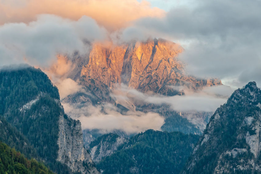 Gesäuse Beauty In Nature Cloud - Sky Cold Temperature Day Environment Landscape Mountain Mountain Peak Mountain Range Nature No People Non-urban Scene Outdoors Power In Nature Rock Scenics - Nature Sky Smoke - Physical Structure Tranquil Scene Tranquility Tree