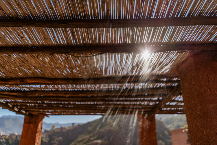 Marrakesh Marrakech Morocco Atlas Mountain Atlas Mountains Berber  Berbervillage Travel Destinations Travel Travel Photography Built Structure Sunlight Wood - Material Close-up No People Focus On Foreground Roof Low Angle View Textile Ceiling Roof Beam Architecture Pattern