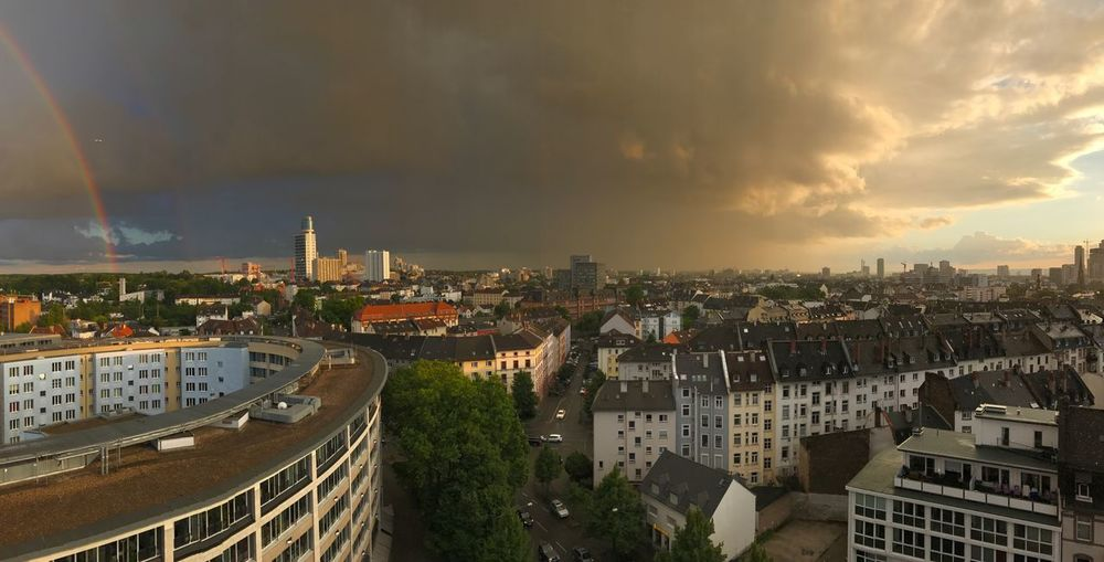 Frankfurt Am Main Panorama Apartment Architecture Building Building Exterior Built Structure City City Life Cityscape Cloud - Sky Community Crowd Crowded Day High Angle View Nature Outdoors Panoramic Photography Rainbow Residential District Settlement Sky Sunset TOWNSCAPE