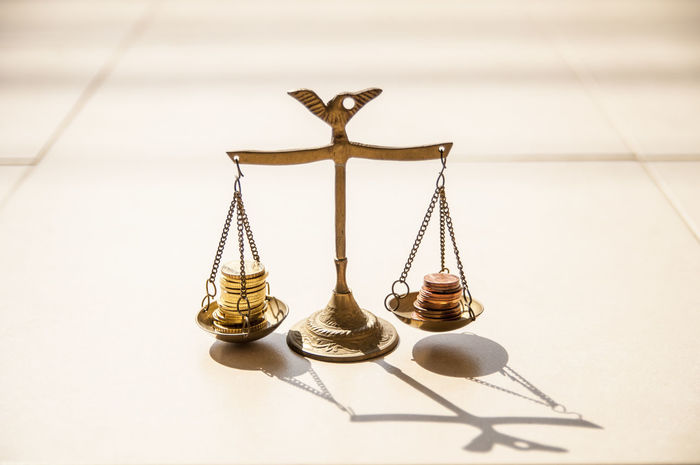 Balance Balancing Banking Concept Day Economics Finance Gold Coins Growth Horizontal LIBRA Measure Measurement Money Natural Light No People Nobody Scale  Still Life Symbol Two Is Better Than One Weight