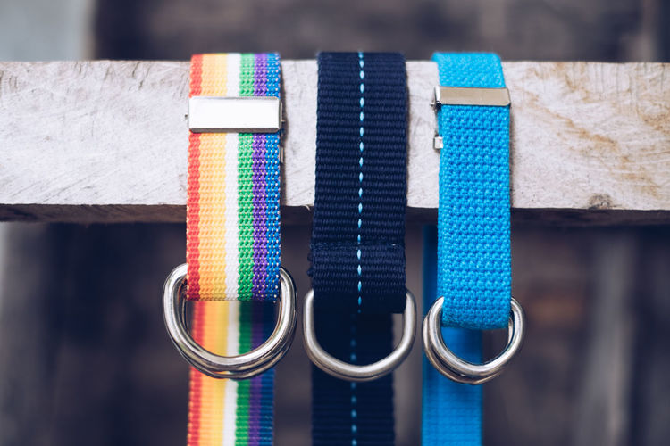 Close-Up Of Multi Colored Pet Leashes