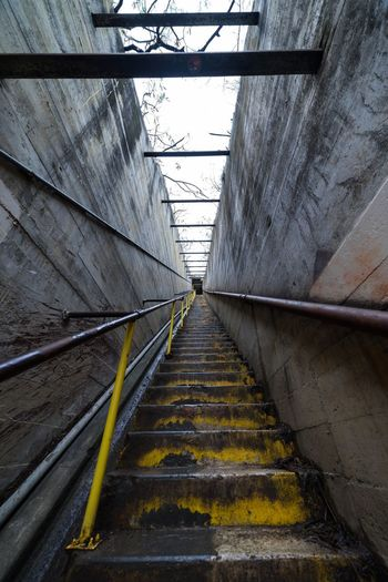 Diamond Head Ⅱ The Way Forward Direction Diminishing Perspective No People Architecture Day Transportation Built Structure Steps And Staircases High Angle View Wall - Building Feature Pattern vanishing point Staircase Nature Metal Straight Railing Outdoors Connection