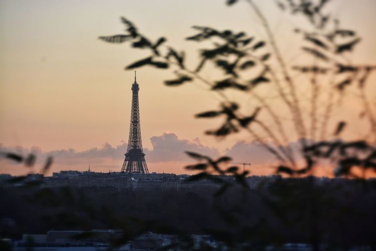 Each day has its different sunrise, different start, a different view despite the same routine, same commute, same landscape. Architecture Art Building Exterior Built Structure Capital Cities  City Cityscapes Creativity Depth Of Field Eiffel Tower Famous Place International Landmark Sunrise The Best Photo Of 2015, The Week On EyeEm Tower Travel Destinations Winter Landscapes With WhiteWall Cities At Night