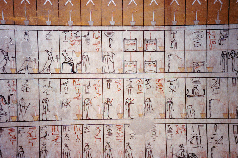 Tomb of the Pharoh Tutmoses III - Valley of the Kings, Thebes, Luxor, Egypt Day Indoors  Heiroglyphics Close-up Timeline No People Cells Backgrounds Full Frame Little Boxes Life In Pictures Tomb Paintings, Egyptian Matchstick Men Tomb Of Tutmoses III