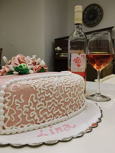 Rosé Cake Piano Clock Glass Lina Birthday Cake Indoors  Table Still Life Food And Drink Celebration No People Wine Home Interior Drink Wineglass Indulgence Alcohol Sweet Food Freshness Pillow Food Ready-to-eat Close-up Visual Feast
