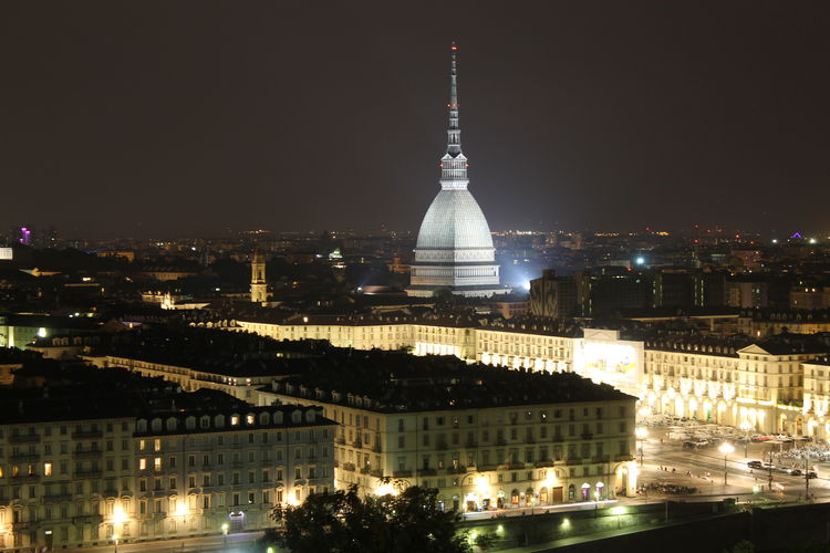 Architecture Building Exterior City Cityscape Dome Frainf Illuminated Italy Mole Antonelliana Night No People Outdoors Sky Torino Travel Destinations Urban Skyline Your Ticket To Europe