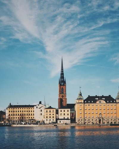 Stockholm Water Church Riddarholmen Riddarholmskyrkan Stockholm Built Structure No People Waterfront Tower City Travel Destinations First Eyeem Photo