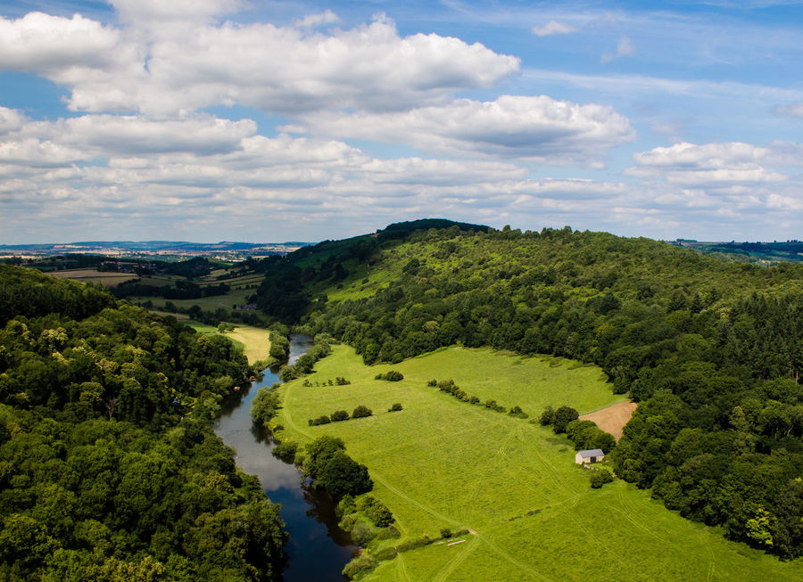 Britain Great Britain United Kingdom Beauty In Nature Cloud - Sky Day England Field Grass Green Color Growth High Angle View Landscape Nature No People Outdoors Scenics Sky Symonds Yat Tranquil Scene Tranquility Tree Water
