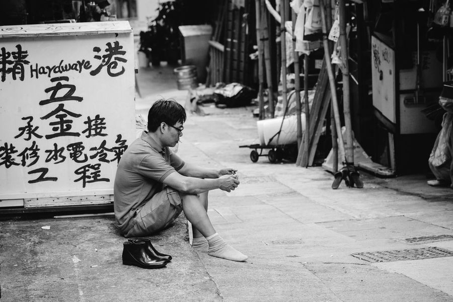 Break Full Length Sitting One Person Crouching Real People Outdoors People Adult Blackandwhite Monochrome HongKong Hong Kong Lifestyle Asian Man Asian Culture One Man Only Streetphotography Break Taking A Break Sitting Outside The Week On EyeEm Adult Young Adult Worker At Work