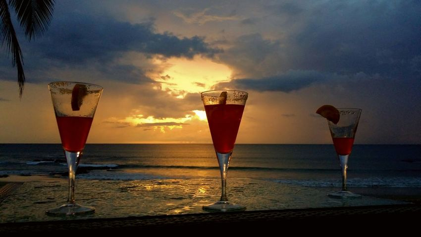 Nothing else better than cocktails on the beach and watching the sunset! Taking Photos Hello World Cheers On The Beach Cocktails Relaxing Enjoying Life Thai Enjoying Life Asian  Thailand Sky The _ Mazzalong Myway Sunset Fun