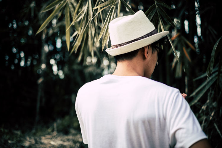 Rear View Of Man In White Hat