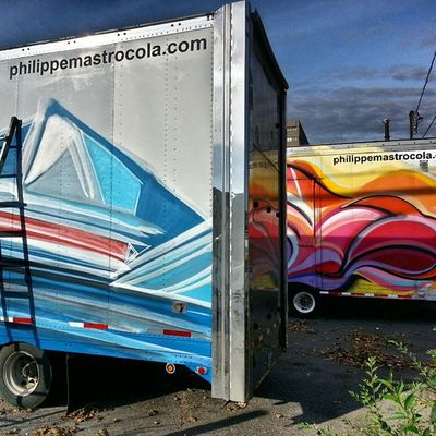 Fleet of Mastrocola Trucks leaving in 2 days Spraypaint Colorize redstarmovement montreal miami