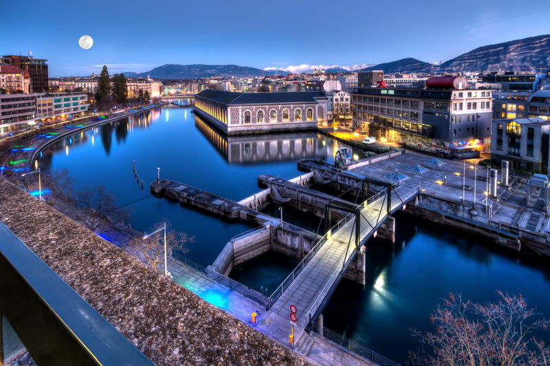 Bfm, cathedral and rhône river in geneva, switzerland - hdr