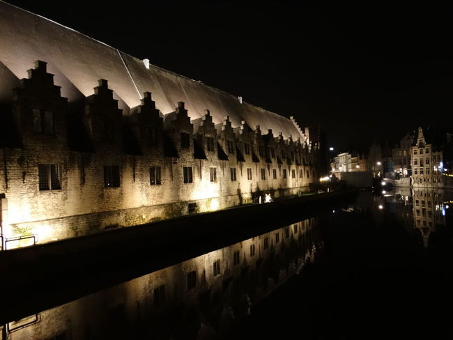 Night Architecture Reflection Arch Illuminated History Travel Destinations City Water No People Built Structure Sky Outdoors Building Exterior Cityscape Politics And Government Ghent,Belgium Ghent Canal Ghent Belgium Architecture Flamand Architecture Cityscape Vacations City Life