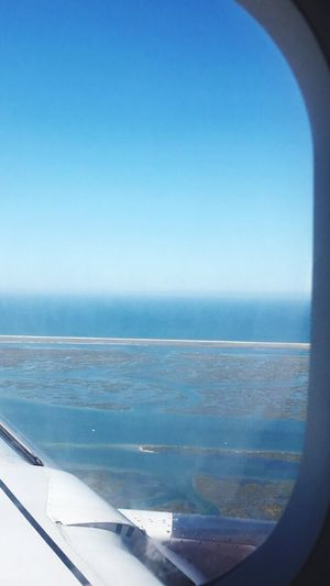 Sea Water Horizon Over Water Day No People Scenics Blue Nature Sky Tranquil Scene Transportation Beauty In Nature Tranquility Clear Sky Outdoors Vacations Airplane Close-up Airplane Wing