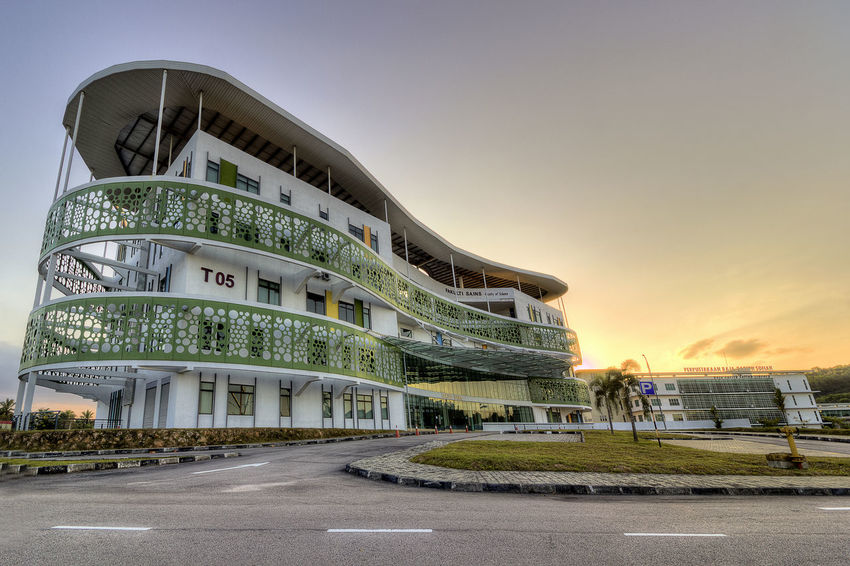 Science Faculty Utm Skudai Universiti Teknologi Malaysia University Technolgy Malaysia Architecture Building Building Exterior Built Structure City Clear Sky Nature No People Outdoors Plant Road Sign Sky Street Sunset Symbol The Way Forward Transportation Travel Destinations Tree