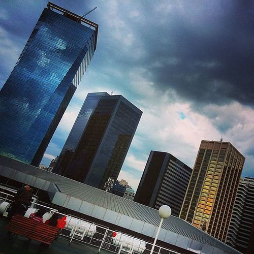 Desde la Cubierta y por zarpar. From the main Deck before Sail . Buildings tower offices office glass steel BuenosAires picoftheday instapic instagood stormy storm cloudy cloudlovers buildinglovers mirror
