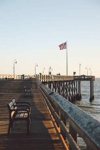 California Pacific Pier Ventura Pier Beauty In Nature Clear Sky Day Flag Nature No People Ocean Outdoors Patriotism Pier Sky Sunset Water The Week On EyeEm