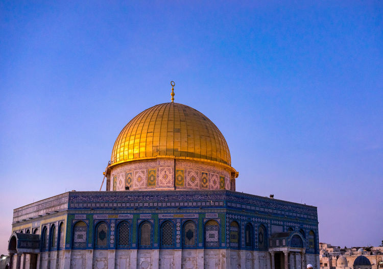 View of masjidil aqsa mosque against clear sky in palestine