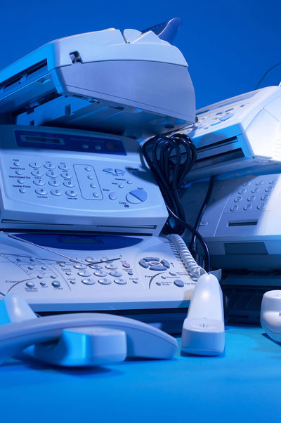fax machine Business Fax Print Rubbish Blue Business Communication Connection Display Document Equipment Fax Machine Faxing  History No People Office Use Outdated Outdated Tech Phone Receiver Stacked Still Life Table Technology Telecommunications Equipment